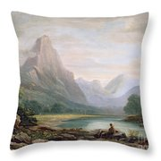 A Welsh Valley Throw Pillow by John Varley