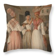 A West Indian Flower Girl And Two Other Free Women Of Color Throw Pillow
