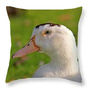 A White Duck, Side View Throw Pillow