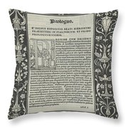 """A White Line Border With Two Cartouches: """"a Satyr Sacrificing A Ram,"""" And """"the Choice Of Hercules"""" Throw Pillow"""
