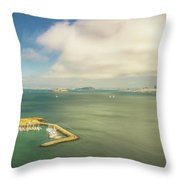 A Wide View Of San Francisco Bay Looking Toward The City And Alc Throw Pillow