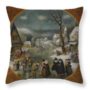 A Winter Landscape With Figures Skating Throw Pillow