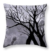A Winter Night Silhouette Throw Pillow
