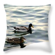 A Winter Swim Throw Pillow