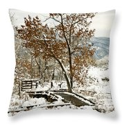 A Winter's Boardwalk Throw Pillow