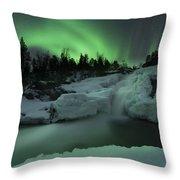 A Wintery Waterfall And Aurora Borealis Throw Pillow