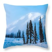 A Wintry Day On Mt Rainier Throw Pillow