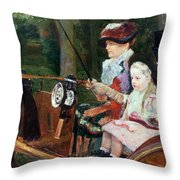 A Woman And Child In The Driving Seat Throw Pillow by Mary Stevenson Cassatt