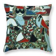 A Woman In Black And Red Throw Pillow