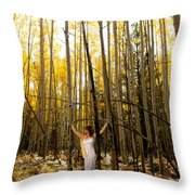 A Woman In The Aspen Throw Pillow