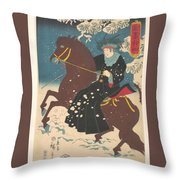 A Woman On Horseback In The Snow Throw Pillow