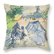 A Woman Seated At A Bench On The Avenue Du Bois Throw Pillow