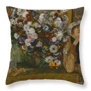 A Woman Seated Beside A Vase Of Flowers Throw Pillow
