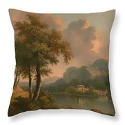 A Wooded Hilly Landscape Throw Pillow