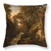 A Wooded Landscape With A Waterfall And A Fisherman Walking Along A Path Throw Pillow