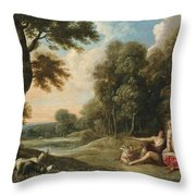 A Wooded Landscape With Venus Adonis And Cupid Throw Pillow