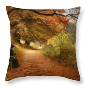 A Wooded Path In Autumn Throw Pillow