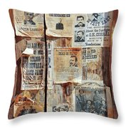 A Wooden Frame Full Of Wanted Posters Throw Pillow