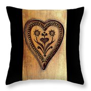 A Wooden Heart Throw Pillow
