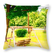 A Wooden Swing Under The Tree Throw Pillow