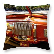 A Woodie At The Beach Throw Pillow