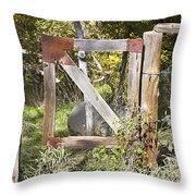 A Woodsy Gate Throw Pillow