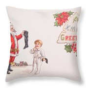 A Xmas Greetings With Santa And Child Vintage Card Throw Pillow