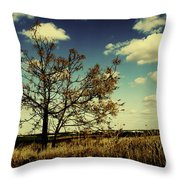 A Yellow Tree In A Middle Of A Dry Field - Wide Angle Throw Pillow