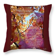 A Yoga Teacher Throw Pillow by Felipe Adan Lerma