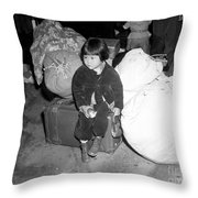 A Young Evacuee Of Japanese Ancestry Throw Pillow by Stocktrek Images