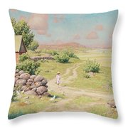 A Young Girl In Summer Landscape Throw Pillow