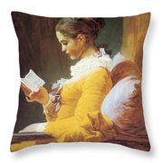 A Young Girl Reading Throw Pillow