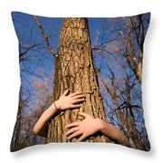A Young Girl Wraps Her Arms Throw Pillow