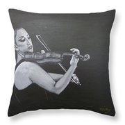 A Young Lady Playing A Violin Throw Pillow
