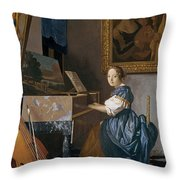 A Young Lady Seated At A Virginal Throw Pillow by Jan Vermeer