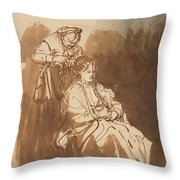 A Young Woman Having Her Hair Braided Throw Pillow