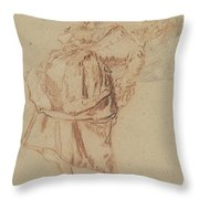 A Young Woman Looking In A Mirror Throw Pillow