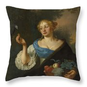 A Young Woman With A Parrot, Ary De Vois, 1660 - 1680 Throw Pillow