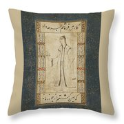 A Young Woman With A Rose Attributed Throw Pillow