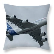 A380 Airbus In Flight Throw Pillow