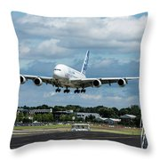 A380 Airbus Plane Landing Throw Pillow