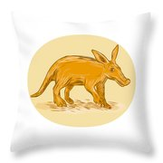 Aardvark African Ant Bear Drawing Throw Pillow