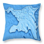 Aargau Canton Switzerland 3d Render Topographic Map Blue Border Throw Pillow