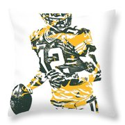 Aaron Rodgers Green Bay Packers Pixel Art 15 Throw Pillow