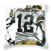 Aaron Rodgers Green Bay Packers Pixel Art 6 Throw Pillow
