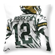 Aaron Rodgers Green Bay Packers Pixel Art 5 Throw Pillow