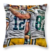 Aaron Rodgers Jordy Nelson Green Bay Packers Art Throw Pillow