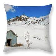 Abandon Building Alaskan Mountains Throw Pillow