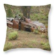 Abandoned Antique Car Throw Pillow