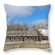 Abandoned Barn And Shed Throw Pillow
